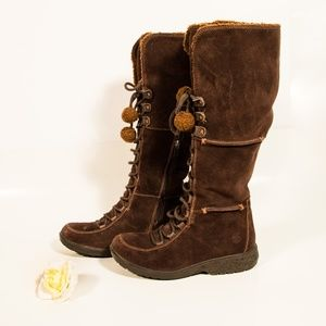 Timberland Knee High Lace Up Suede Boots